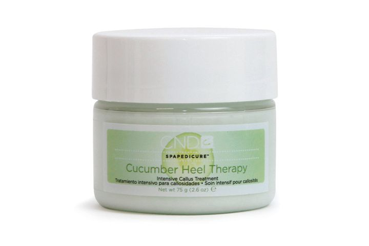 """<p><a href=""""http://www.cnd.com/Consumer.aspx"""">CND&rsquo;s</a> Cucumber Heel Therapy is an intensive callus treatment that uses a moisturizing complex formula to aid in the repair of dry, cracked skin. The cream uses Cucumber Extract to cool and refresh parched skin, and lactic acid to act as a gentle exfoliant. Urea is also used as an anti-inflammatory and deodorizer, and panthenol helps stimulate cell regeneration.</p>"""