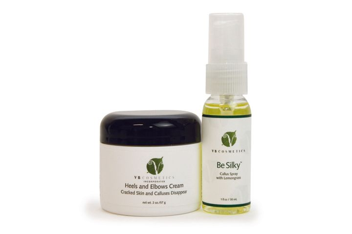 """<p><a href=""""http://vbcosmetics.com/"""">VB Cosmetics&rsquo;</a> Heels and Elbows Cream helps eliminate cracked calluses while smoothing out the feet and hydrating the skin. The thick cream is comprised of powerful bioactive ingredients to hydrate the skin while exfoliating dull, dead cells. The cream also helps reduce foot odor and can be applied daily. VB Cosmetics also has Be Silky Callus Spray with Lemongrass. The spray is applied generously to the callus and left on for five minutes to soften and prepare feet for filing.</p>"""