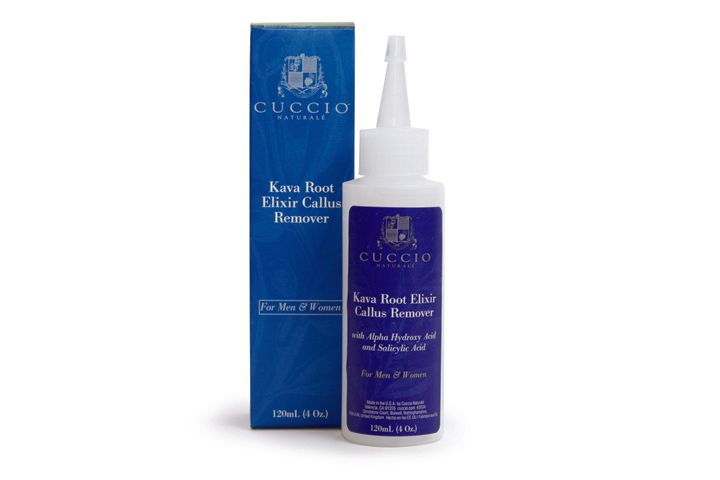 """<p><a href=""""http://www.cuccio.com/"""">Cuccio Natural&eacute;&rsquo;s</a> Kava Root Elixir Callus Remover is composed of a unique blend of Kava root, fruit acids, and alpha-hydroxy acids (AHAs), that removes dead skin &shy;layers from the feet. The product is applied directly to the callused areas and rubbed in. The feet are then wrapped in a plastic liner, booties, or warm towels and the &shy;Callus Remover is left on the callus for five to 10 minutes. Once it is washed off the callus can be gently filed and smoothed with a foot file.</p>"""