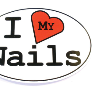 I <3 My Nails Oval Sticker