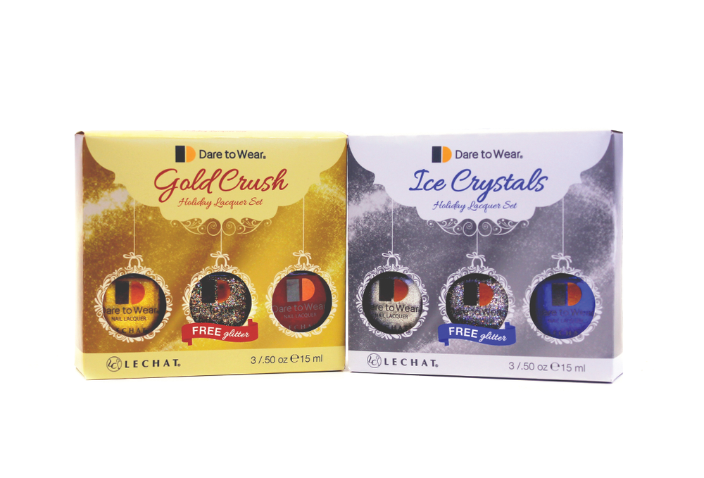 "<p>Dare to Wear&rsquo;s Gold Crush and Ice Crystals lacquer sets will add shine to the season. Each comes with three lacquers, including a glitter color. <a href=""http://www.lechatnails.com/d2colorkits.htm"">www.lechatnails.com</a>. </p>"
