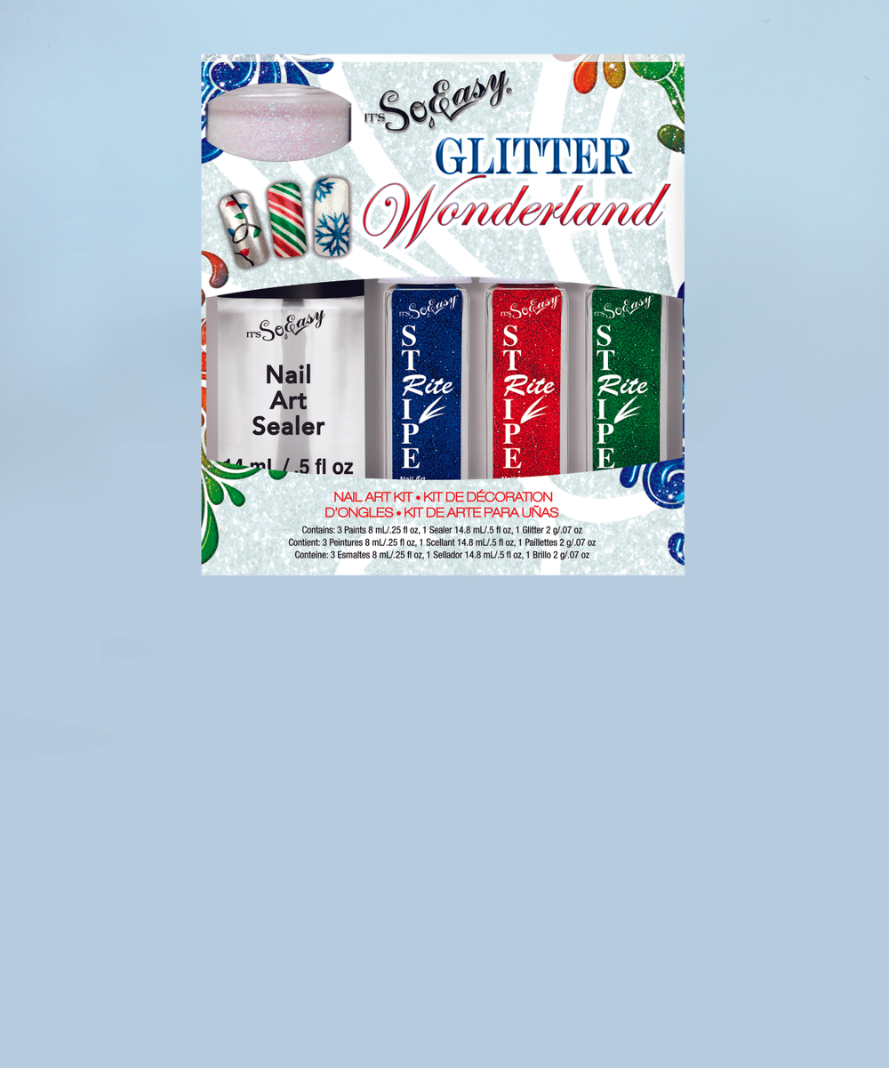 "<p>It&rsquo;s So Easy truly makes nail art <em>so easy</em> with the new Glitter Wonderland kit. Complete with three glitter nail art Stripe Rites, a pot of loose glitter, and the Nail Art Sealer Top Coat, nails can be dressed up for any holiday occasion. <a href=""http://www.itssoeasynails.com/"">www.itssoeasynails.com</a>. </p>"