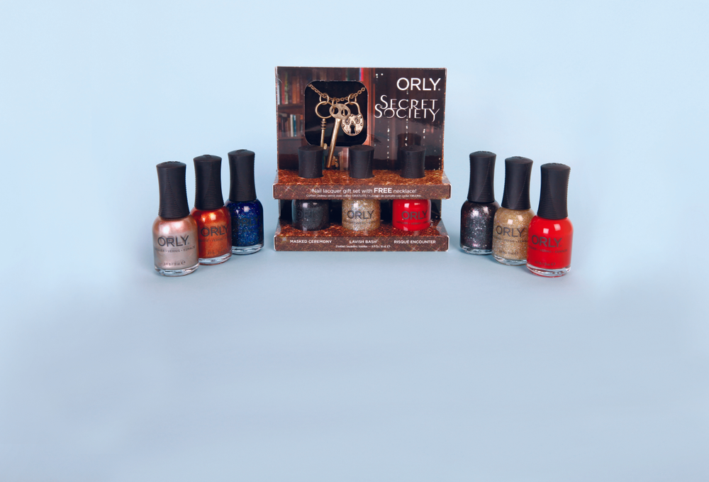 "<p><span>Embrace the risqu&eacute;, dramatic, and avant-garde and become&nbsp;</span><span>immersed in the aristocratic world of extravagance with Secret&nbsp;</span><span>Society. Orly&rsquo;s holiday collection comes in edgy jewel tones&nbsp;</span><span>and majestic metallic for a range of six colors. Three trio sets are&nbsp;</span><span>available with gorgeous gifts including bangles, pouches, and a lock&nbsp;</span><span>and key necklace.</span><br /><a href=""http://www.orlybeauty.com/"">www.orlybeauty.com</a></p>"