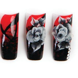 1. Polish the nail red.