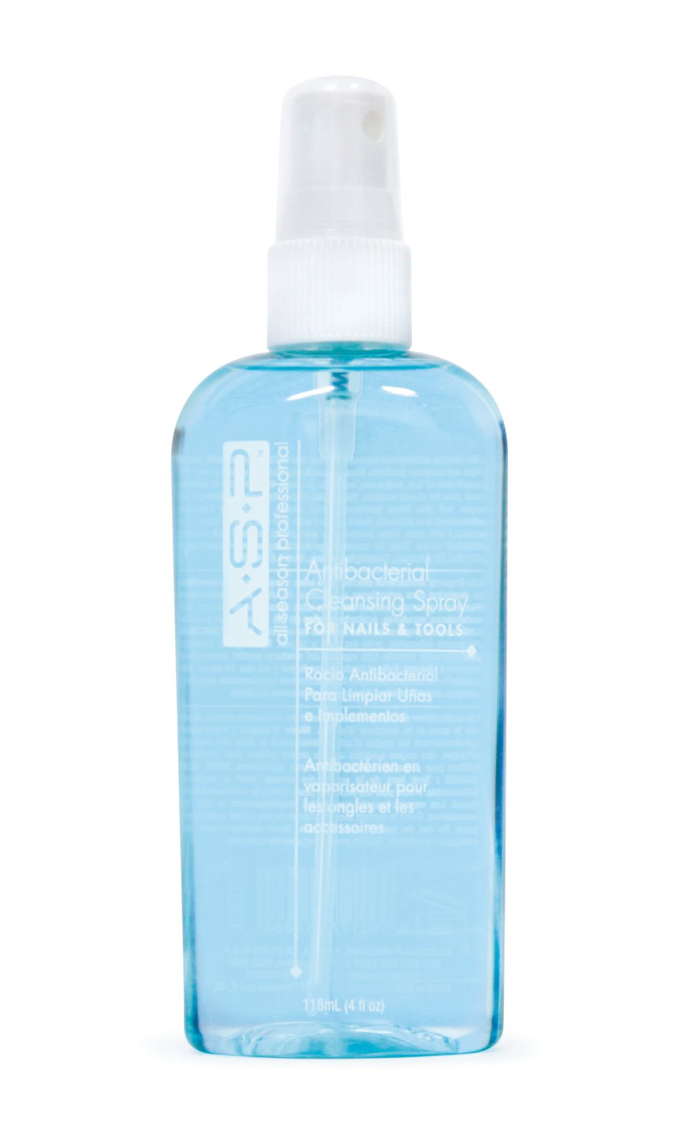 """<p><strong>ASP&rsquo;s</strong><span>&nbsp;Antibacterial Cleansing Spray is an&nbsp;</span><span>effective antiseptic to combat fungus and&nbsp;</span><span>bacteria on both implements and nails.&nbsp;</span><span>It cleans and prepares the natural nail for&nbsp;</span><span>services without rinsing and disinfects&nbsp;</span><span>workstation tools. The crisp, blue, quickdrying&nbsp;</span><span>formula contains chemicals that&nbsp;</span><span>prevent cross-contamination.</span><br /><a href=""""http://www.aspnail.com/"""">www.aspnail.com</a></p>"""