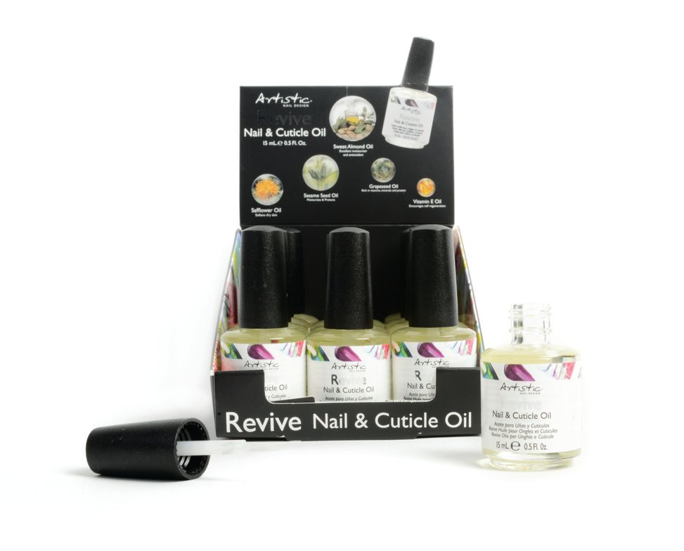 <p>Artistic Revive Nail &amp; Cuticle Oil has a brand new look and a brand new retail display featuring mini portable bottles. The sweet almond oil is naturally rich in essentials and nutrients, healing vitamins, and nourishing moisturizer.&nbsp;</p>