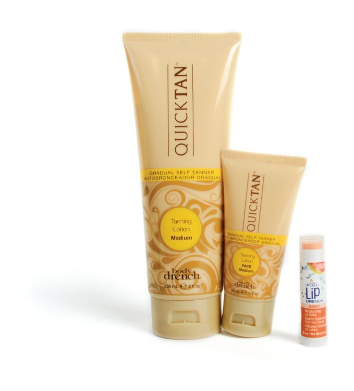 <p>Create an effortless holiday glow with the Body Drench QuickTan Sunless Tanning Kit. This kit contains gradual self-tanning lotion and gradual self-tanner for the face, which can develop throughout the day for an even, natural-looking glow during the holidays. Also included is a free Mango Moisturizing Lip Balm to keep lips nourished and sweet.&nbsp;</p>