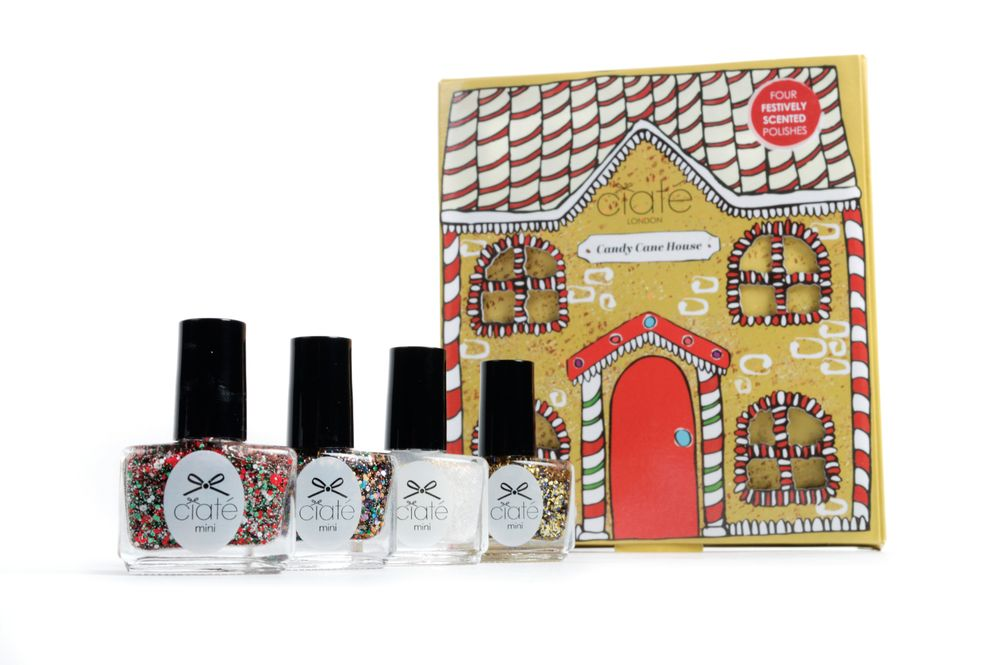 <p>Escape to a winter wonderland with the Candy Cane House by Ciat&eacute; London. The festive collection includes four fragranced glitter polishes with scents from gingerbread and Christmas trees to candy cane and fresh cotton.&nbsp;</p>