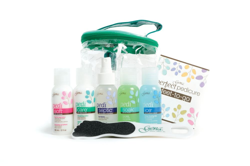 <p>Enjoy a soothing and therapeutic spa treatment in the comfort of your own home with the Gena Perfect Pedicure Feet-to-Go Kit. This complete pedicure kit contains Pedi Sander, Pedi Care, Pedi Soft, Pedi Septic, Pedi Ice, and Pedi Soak, all packed into an easy-to-carry pouch.</p>