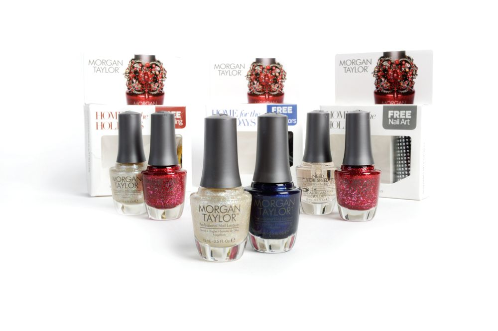 <p>Morgan Taylor is making spirits and nails bright with the Home for the Holidays 2014 Collection featuring three gift sets. Worn alone or paired together to create celebratory nail styles, the new shimmery shades in the palette will light up any wintery night.&nbsp;</p>