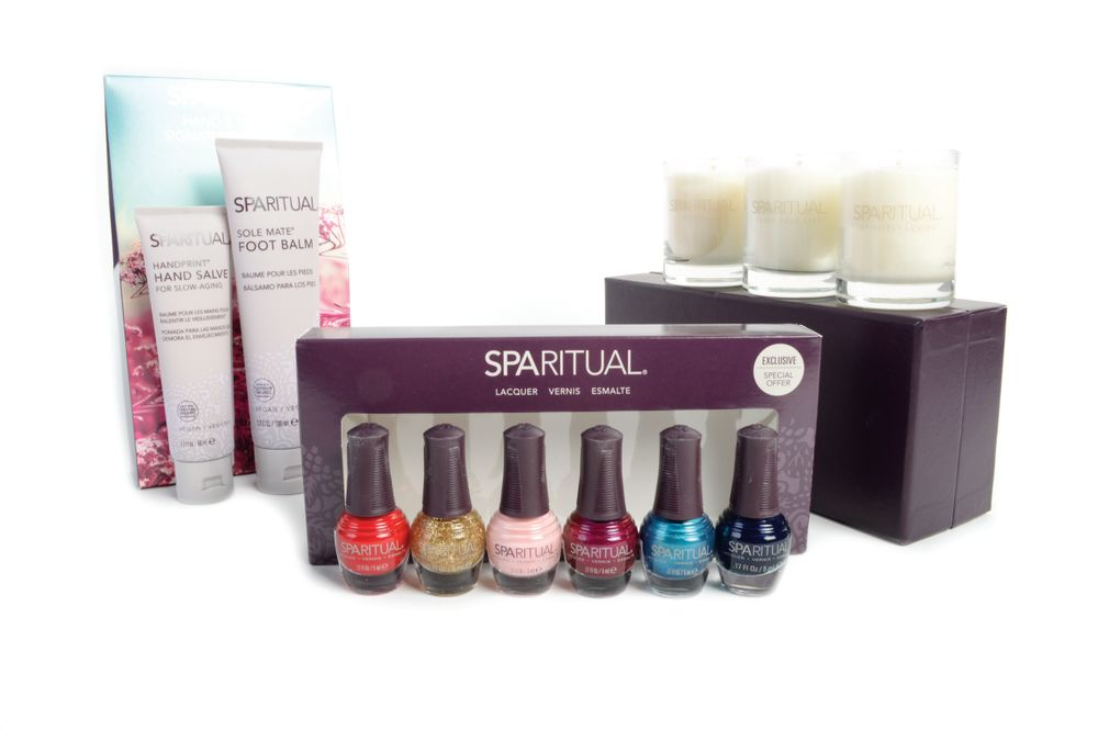 <p>The SpaRitual Holiday Mini Lacquer kit features six of its most popular nail polish shades. The set includes one glitter, two shimmers, and three creams. While you&rsquo;re at it, rescue hands and feet from the winter blues with SpaRitual&rsquo;s Handprint Hand Salve and Sole Mate Foot Balm. The holiday three-piece candle trio offers three botanically based aromas of sultry jasmine, calming geranium, and mysterious frankincense.&nbsp;</p>