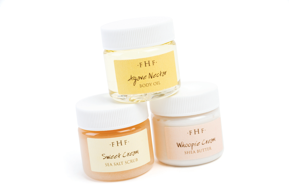 <p>The Sweeping Softness 3-Step Body Sampler from FarmHouse Fresh will help you buff, hydrate, and glisten. The kit contains Sweet Cream Sea Salt Scrub to exfoliate, a Whoopie Cream Shea Butter to moisturize, and Agave Nectar Ageless Body Oil to nourish.</p>