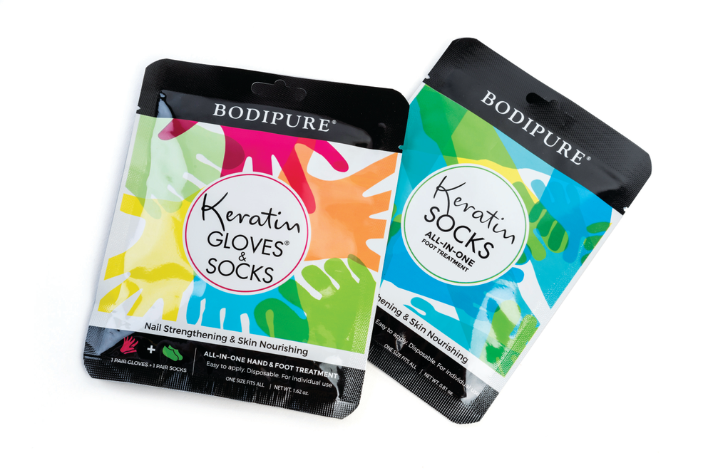 <p>Keratin Gloves from Bodipure are an all-in-one hand and foot treatment that will soften skin with an anti-aging and moisturizing formula.&nbsp;</p>