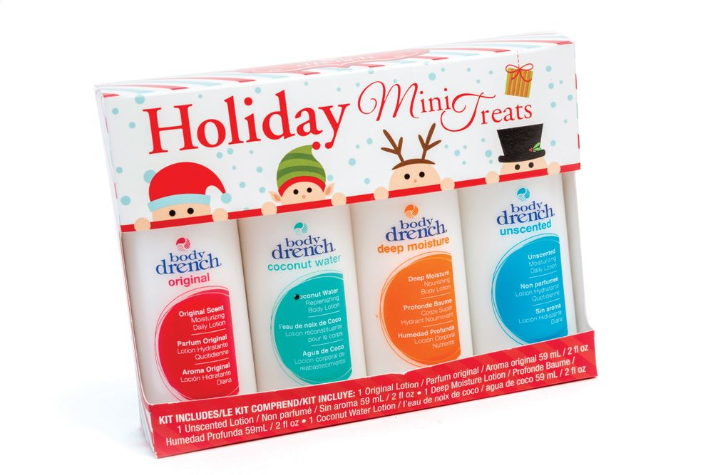 <p>Body Drench Holiday Mini Treats includes a set of 2-oz bottles packed with the brand&rsquo;s best-selling hand and body lotions like Original, Unscented, Deep Moisture Nourishing, and Coconut Water Restoring.</p>