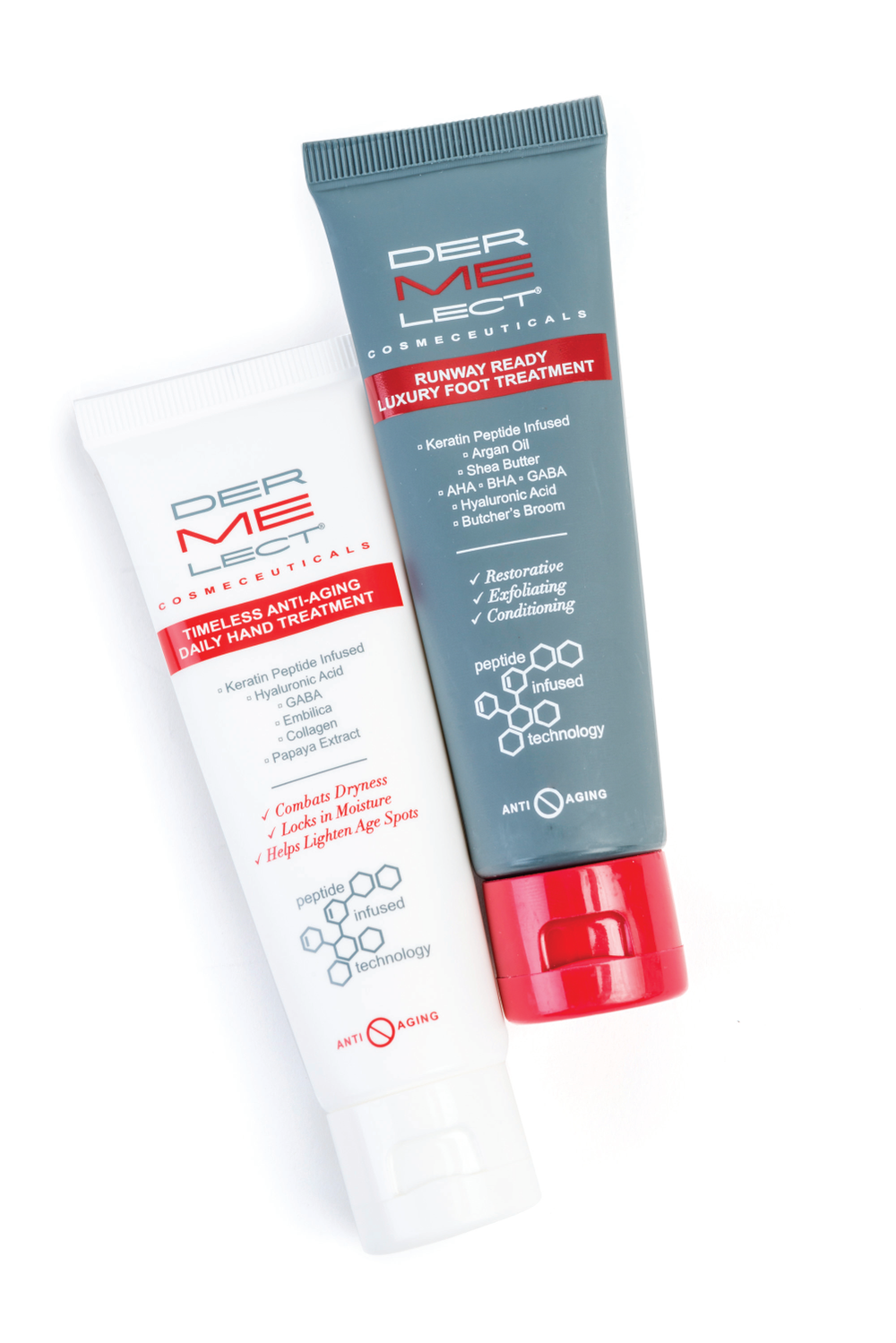 <p>The Essential Hand &amp; Foot Duo from Dermelect includes an anti-aging hand treatment that restores a youthful appearance to hands, and the foot treatment features a formula that renews the look and feel of worn, tired feet.&nbsp;</p>