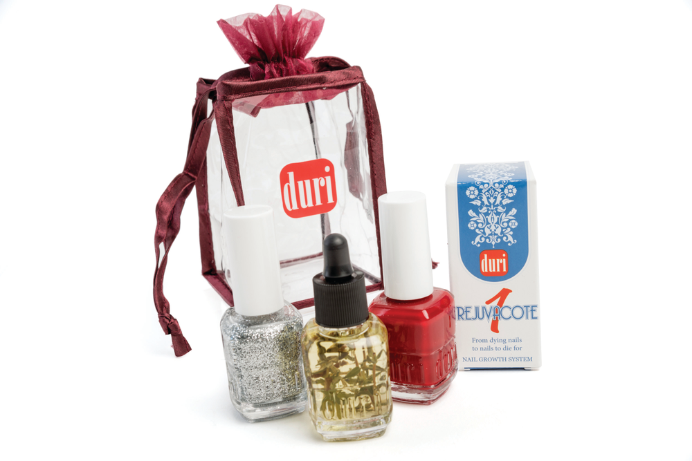 <p>Duri is offering is an assortment of nail care and color kits this season. The kits come in your choice of burgundy, white, and gray drawstring boxed sets that include two nail polishes and two nail treatments.</p>