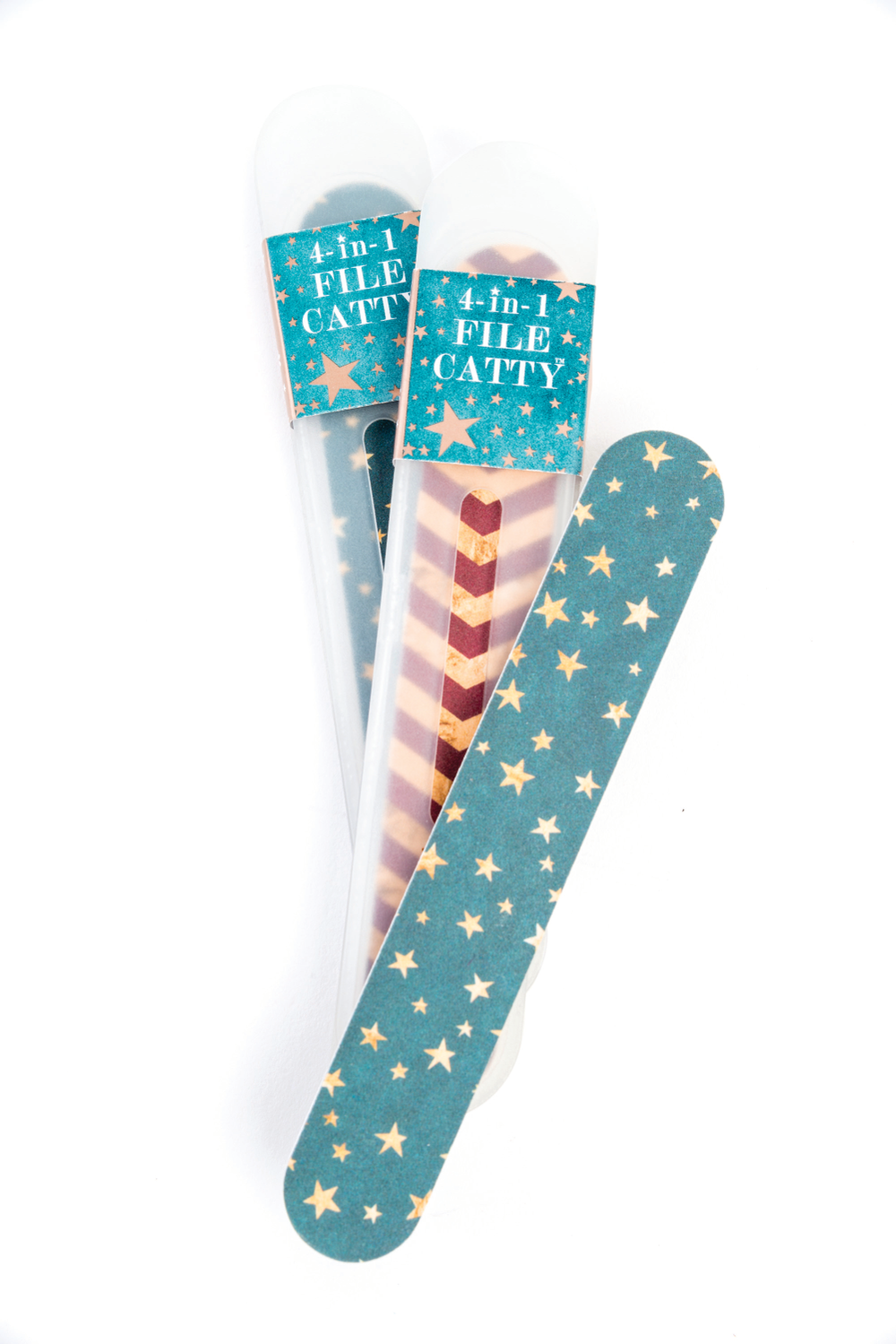 <p>Flowery&rsquo;s Starry Night 4-in-1 File Catty Collection includes 180/240-grit nail files with three new seasonal designs including Dazzled in Gold, Chevron, and Starry Night. The grab-and-go item is four tools in one and includes a sleek case, cuticle pusher, under the nail cleaner, and file.&nbsp;</p>