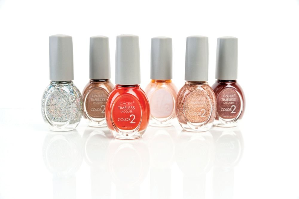 <p>The Timeless Lacquer line from Cacee offers long-lasting color coverage and is introducing a set of six seasonal new colors including What&rsquo;s Wine Is Yours, Fifth Element, Sheer Off Course, Champagne Showers, Prism Me That, and All That Shimmers Is Rose Gold.</p>