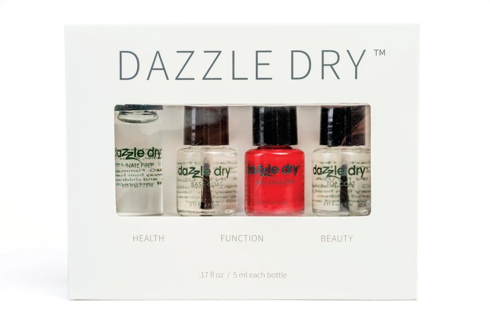 <p>Mini Kits from Dazzle Dry are available in 30 colors and each kit includes Nail Prep, Base Coat, Nail Lacquer, and Top Coat. The vegan lacquer line offers a five-minute dry time, so the kit is ideal for busy lacquer lovers.</p>