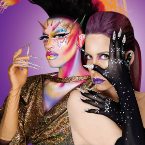 Creator Vie Lette (right) and her brother (in drag as Acid Betty) model Unicorns Poop Glitter...