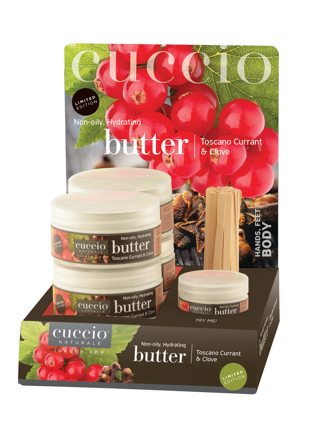 "<p>Cuccio Naturalé's Toscano Currant and Clove Holiday Butter Blend features intense, non-oily hydration for soft, silky skin and the warm, inviting scent of Toscano currant and clove. The perfect gift for friends, family, and co-workers is also a wonderful addition to your holiday retail area.<br /><a href=""http://www.cuccio.com"">www.cuccio.com</a></p>"