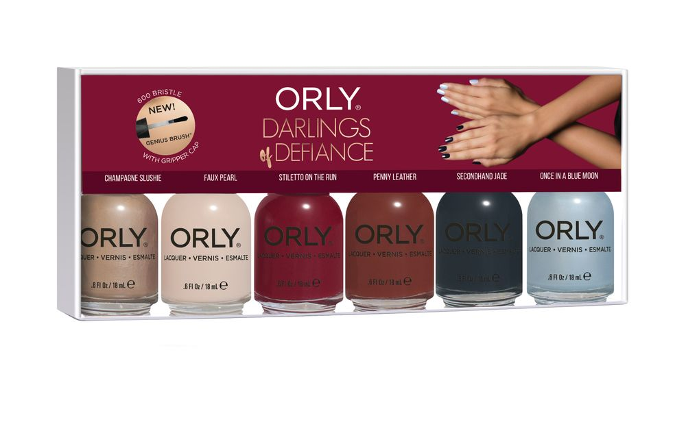 "<p>Orly Darlings of Defiance <br />Holiday 2017 Collection: Clash your colors, mix your patterns, and combine the unexpected with Orly's new Darlings of Defiance collection. From a creamy brick red to a baby blue foil, these contradictory yet complementary hues are sure to bring out your inner rule-breaker.<br /><a href=""http://www.orlybeauty.com"">www.orlybeauty.com</a></p>"