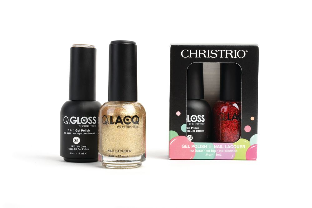 "<p>Christrio's Q.Gloss Gel Polish requires no base coat, top coat, or cleansing, and soaks off easily within five minutes. Q.Gloss Gel Polish and its matching nail lacquer Q.Lacq are now available in a duo set of festive Red Glitter Gold or Gold colors.<br /><a href=""http://www.christrio.com"">www.christrio.com</a></p>"