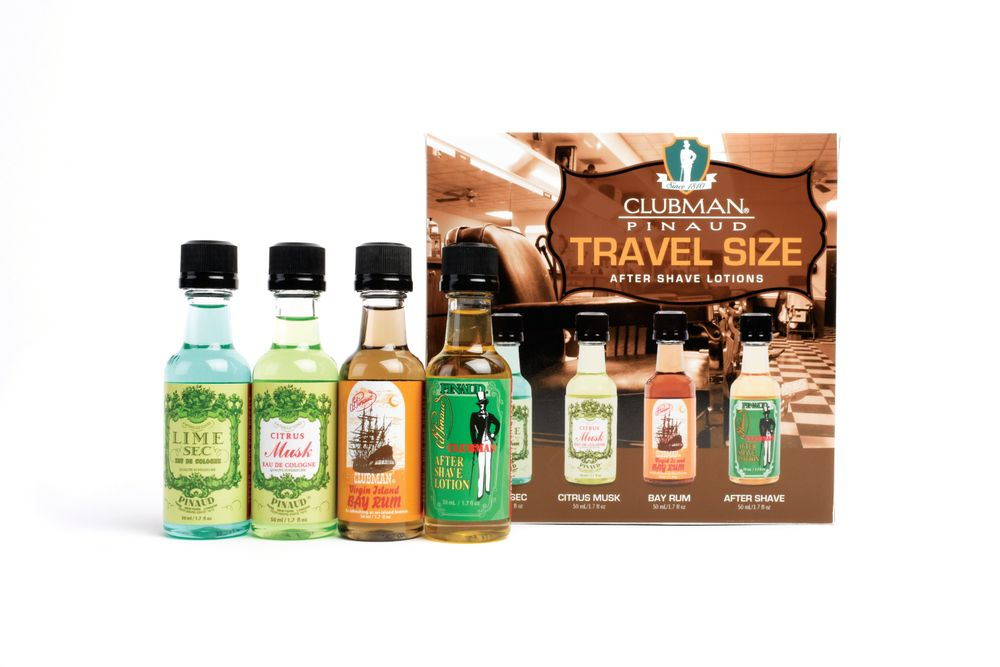 "<p>If holiday travel is in your future, don't leave home without the new Clubman Travel Size After Shave Lotions Gift Set. Set includes TSA-friendly 1.7 fl. oz. bottles the brand's four best-selling fragrances — Lime Sec, Citrus Musk, Bay Rum, and the quintessential After Shave Lotion, the number-one choice of barbers. <br /><a href=""http://www.clubman.com"">www.clubman.com</a></p>"