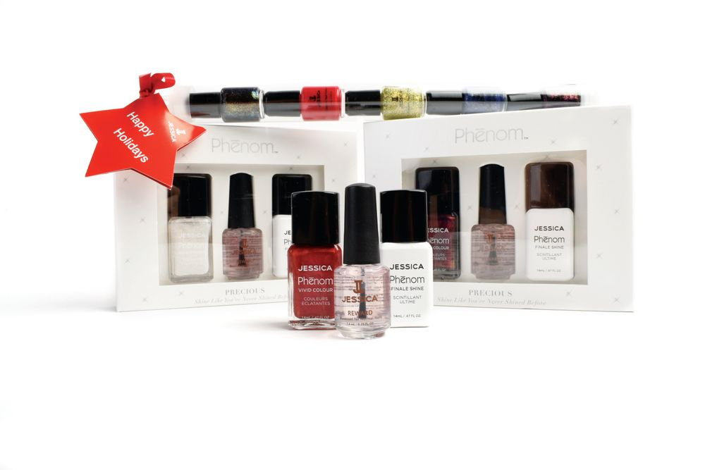 "<p>Jessica expands the precious gem collection with three new additions to the Phenom range: Rare Rubies, White Opal, and Red Beryl. A festive candy cane package of mini Jessica lacquers features seasonal colors.<br /><a href=""http://www.jessicacosmetics.com"">www.jessicacosmetics.com</a></p>"