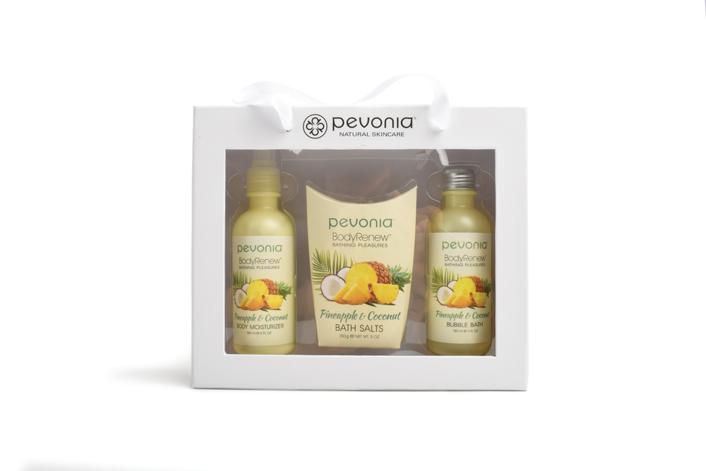 "<p>Brighten, conceal, and de-age with Pevonia's Soak in the Ho-Ho-Holidays BodyRenew Bathing Pleasures Collection. Choose from three blissful scents: Jasmine &amp; Lavender, Peach &amp; Vanilla, or Pineapple &amp; Coconut. The collection features moisturizer, bubble bath, and bath salts.<br /><a href=""http://www.pevoniapro.com"">www.pevoniapro.com</a></p>"