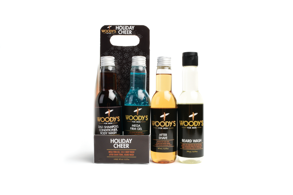 "<p>Help men look and smell irresistible with the Woody's Holiday Cheer Kit. The kit includes three grooming essentials: 3-IN-1 Shampoo, Conditioner and Body Wash, Beard Wash, After Shave Tonic and Mega Firm Gel.<br /><a href=""http://www.woodysgrooming.com"">www.woodysgrooming.com</a></p>"