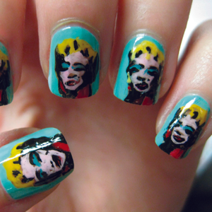 Inspired by Andy Warhol's Marilyn, 1967 (On Blue), these nails were extremely time consuming and...
