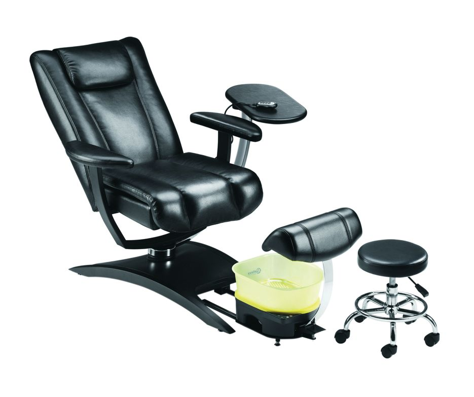 """<p><a href=""""http://www.belava.com/"""">Belava</a>&rsquo;s Embrace chair combines versatility, simplicity, and pipeless sanitation with utmost luxury. The Embrace has a high back, is plush, and is extra wide to accommodate the perfect snuggle. It fully reclines and has several levels of massage. Plus it comes with an adjustable manicure table, a tech stool, and a full Belava no-plumb pedicure system in a color combination of your choice.</p>"""