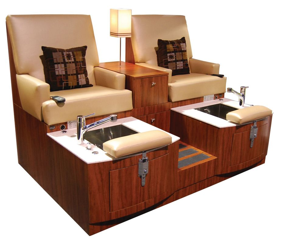 """<p>Accommodate multiple clients with one purchase with the <a href=""""http://www.salonfurniture.com/"""">Design X</a> Lounge Double Pedicure. Each station features a large storage drawer, a faucet with a pull-out sprayer, an adjustable footrest, and a stainless steel sink. Single and Triple Lounge Pedicure models are also available.</p>"""