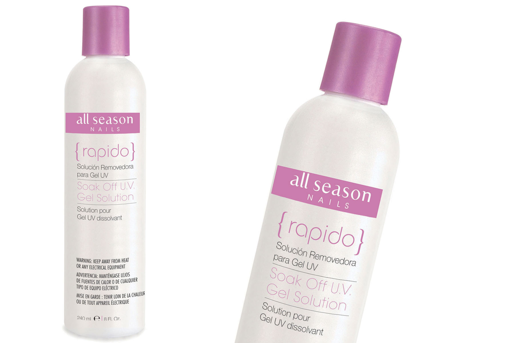 <p>All Season Nails Rapido Soak Off UV Gel Solution is a hydrating soak-off solution that gently removes UV soak-off gel products from natural nails. It contains a blend of conditioning oils including cotton seed oil, sunflower seed oil, and safflower seed oil.<br /><br /></p>