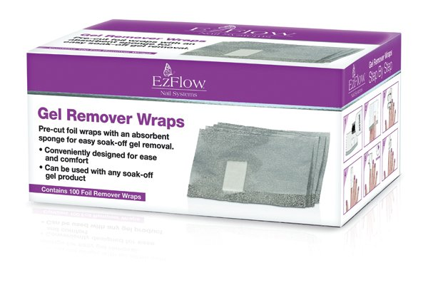 "<p><a href=""http://www.ezflow.com"">EZ Flow&rsquo;s</a> Gel Remover Wraps go on quickly and easily, while providing a secure hold for the remover solution to soak the gel-polish. The box contains 100 foil Remover Wraps that can be used on any soak-off gel product.<br /><br /></p>"