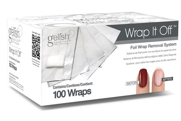 "<p><a href=""http://www.gelish.com"">Hand &amp; Nail Harmony</a> offers a Gelish Wrap It Off Foil Wrap Removal System to streamline the soak-off process. Sturdy pieces of high-quality foil with cotton pads makes taking off gel-polish quick and effortless. Each box contains 100 Gelish Wrap It Off Foil Removal wraps.</p>"