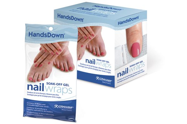 "<p>HandsDown Soak-Off Gel Nail Wraps from <a href=""http://www.grahambeauty.com"">Graham Professional Beauty Products </a>are flexible enough to be used on both finger and toenails and the unique material and easy-press seal creates a non-slip wrap for maximum soak-off results. They are made from a unique, latex-free material with a highly absorbent pad that helps concentrate the acetone where it needs to be.<br /><br /></p>"