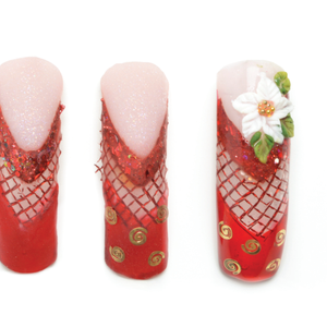 4. Using white acrylic, create a white poinsettia at the base of the nail. Mark the petals of...