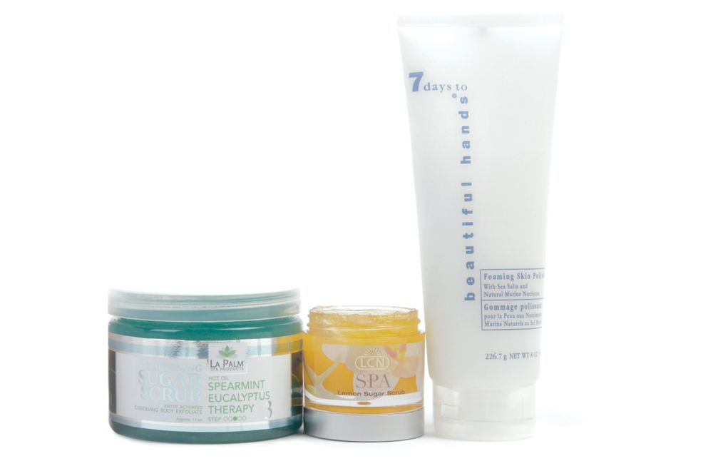 """<p>Softening Sugar Scrub from&nbsp;<a href=""""http://www.lapalmspaproducts.com/"""">La Palm</a> Products exfoliates skin.&nbsp;<a href=""""http://lcnusa.com/"""">LCN</a> Lemon Sugar Scrub is perfect for removing all the pore-clogging impurities that keep vibrant and beautiful skin hidden from the world. Don&rsquo;t let the &ldquo;foaming&rdquo; fool you &mdash; Foaming Skin Polish from <a href=""""http://nailtek.com/"""">Nail Tek </a>means business. </p>"""