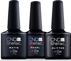 "<p>CND Shellac Matte Top Coat</p> <p>CND Shellac Pearl Top Coat</p> <p>CND Shellac Glitter Top Coat</p> <p><a href=""http://www.cnd.com"">www.cnd.com</a></p>"