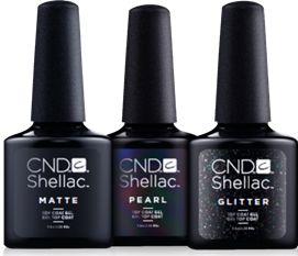 """<p>CND Shellac Matte Top Coat</p> <p>CND Shellac Pearl Top Coat</p> <p>CND Shellac Glitter Top Coat</p> <p><a href=""""http://www.cnd.com"""">www.cnd.com</a></p>"""