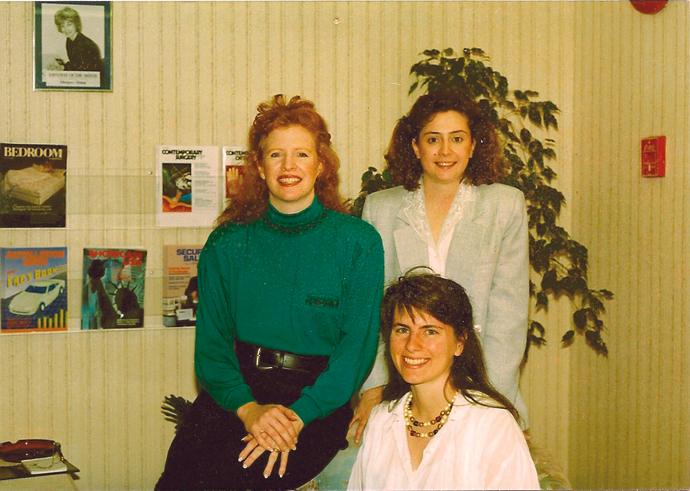 <p><strong>1990</strong>:&nbsp;NAILS launches a short-lived tabloid newspaper called Nail Tech News. (pictured: NAILS editorial staff, 1990)</p>