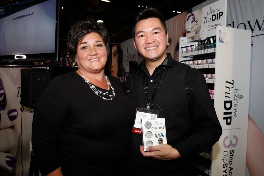 <p>Gena's Lisa Testa with EzFlow's Matthew Nguyen</p>