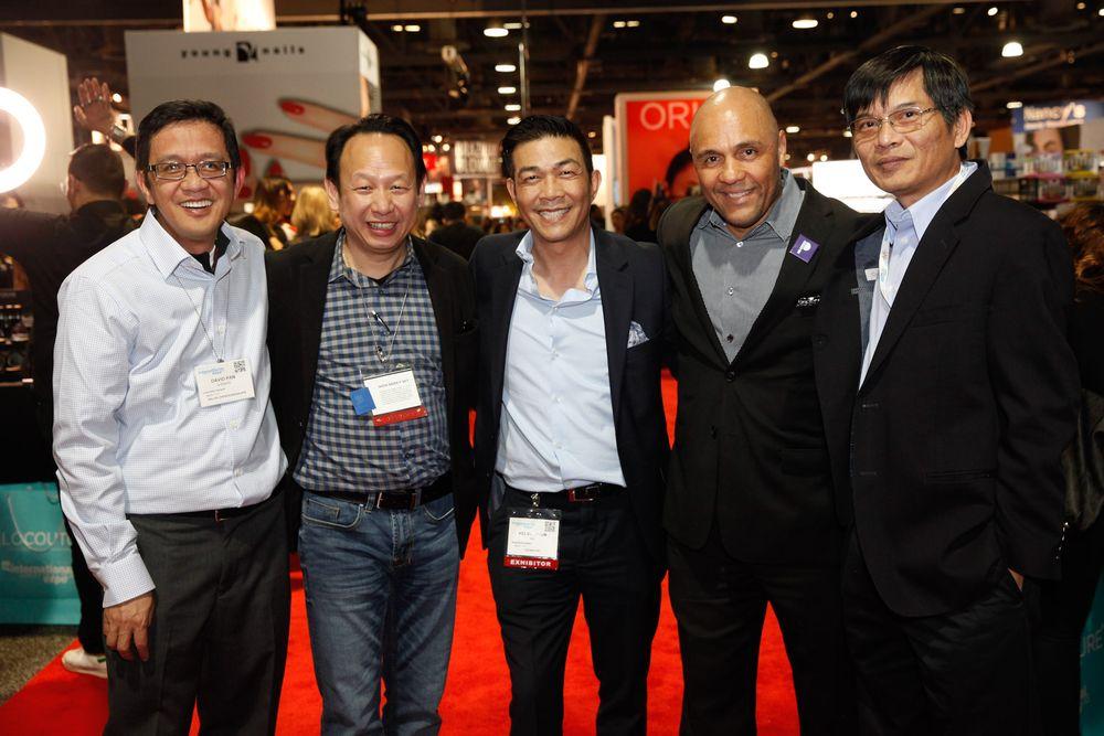 <p>David Pan, LeChat's Newton Luu, AII's Kelvin St. Pham and Donald Anderson, and CND's Thong Vu</p>