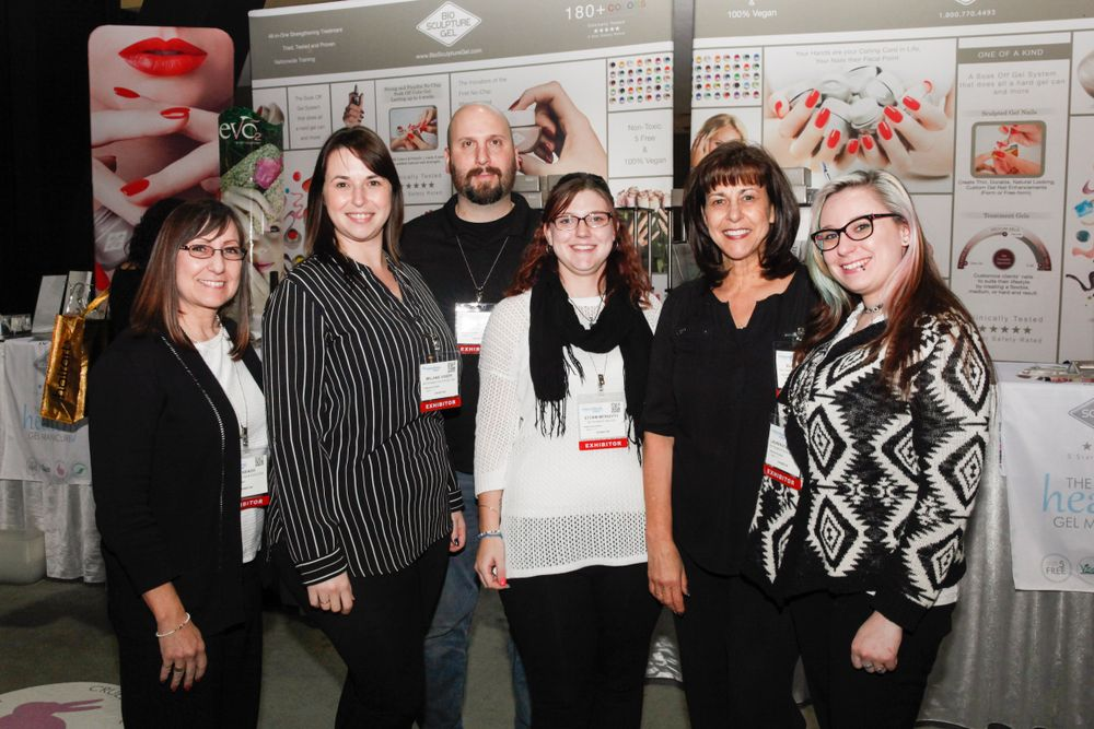 <p>Bio Sculpture Gel's Kai Keach, Melanie Visser, Ricky Coppopella, Storm Meredith, Elsie Visser, and Lauren Stanaland promoted the company's gel products.</p>