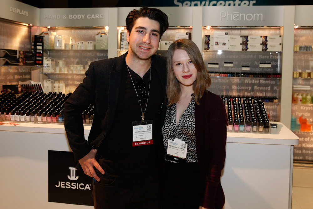 <p>Jessica Cosmetics' Alexander Sarkissian with NAILS assistant editor Katherine Fleming</p>
