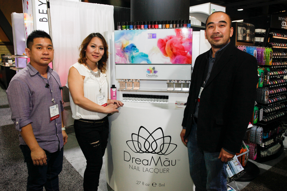 <p>Alfalfa Nail Supply's Hien Ton, Katie Nguyen, and Kevin Nguyen promoted the DreaMau nail polish creator.</p>
