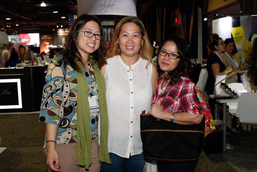 <p>NAILS/VietSALON senior editor Kim Pham with Gelish's Thao Nguyen and Bobbie Naohara</p>