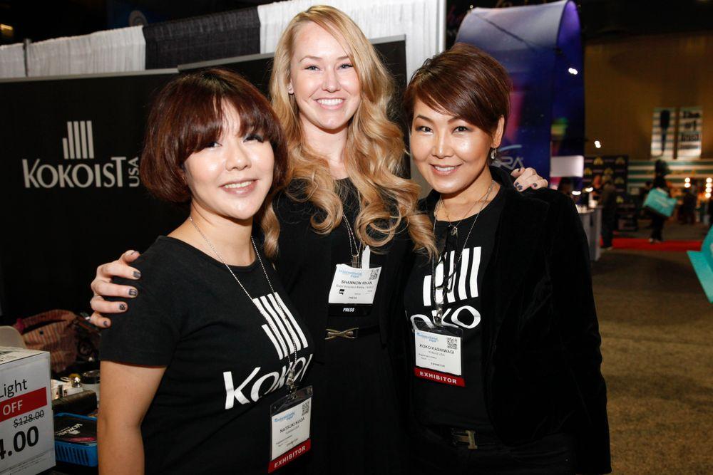 <p>NAILS' Shannon Rahn with Kokoist Japan's art director Natsuki Kuga and Kokoist USA's Koko Kashiwagi</p>